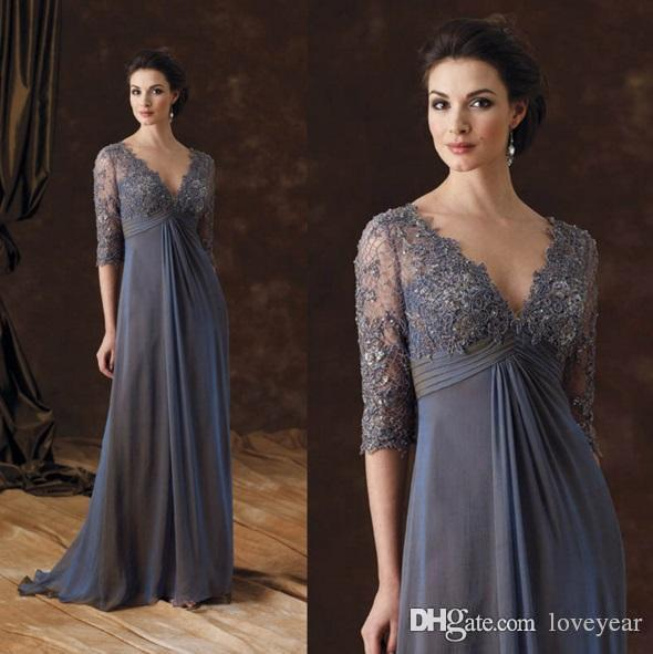 2020 Chiffon Lace Mother Of The Bride Dresses V-Neck Half Sleeves A-line Mother Of Groom Dress Arabic Evening Gowns Mother Prom Dress