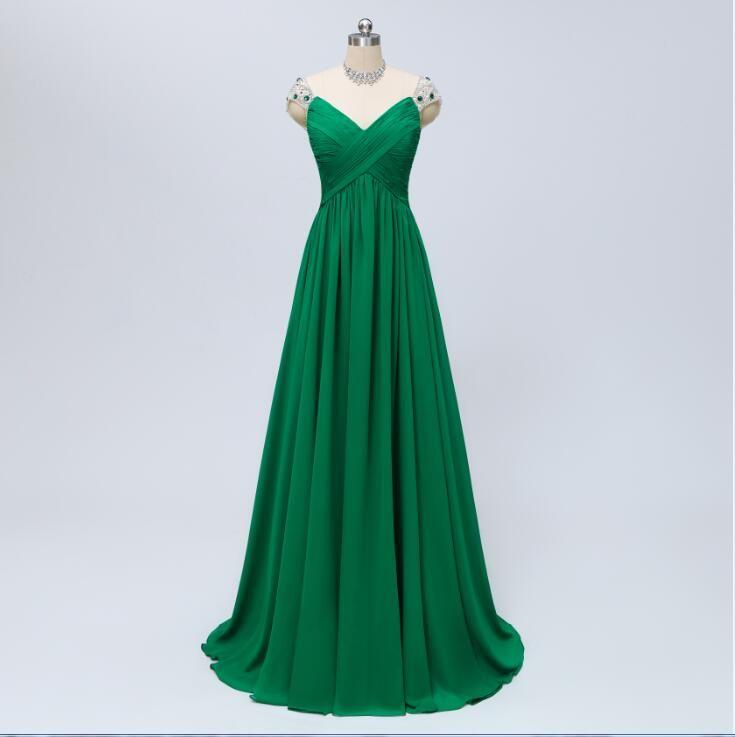 Vestido de gasa verde largo