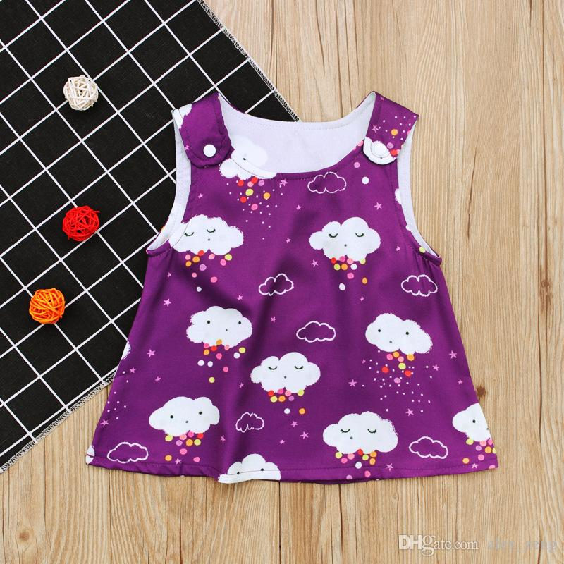 27538dbe6 2019 2018 New Toddlers Girls Clound Printing Top Clothes Cute Shoulder  Button Sleeves Vest Dress For 0 2T From Alex_zeng, $5.03 | DHgate.Com
