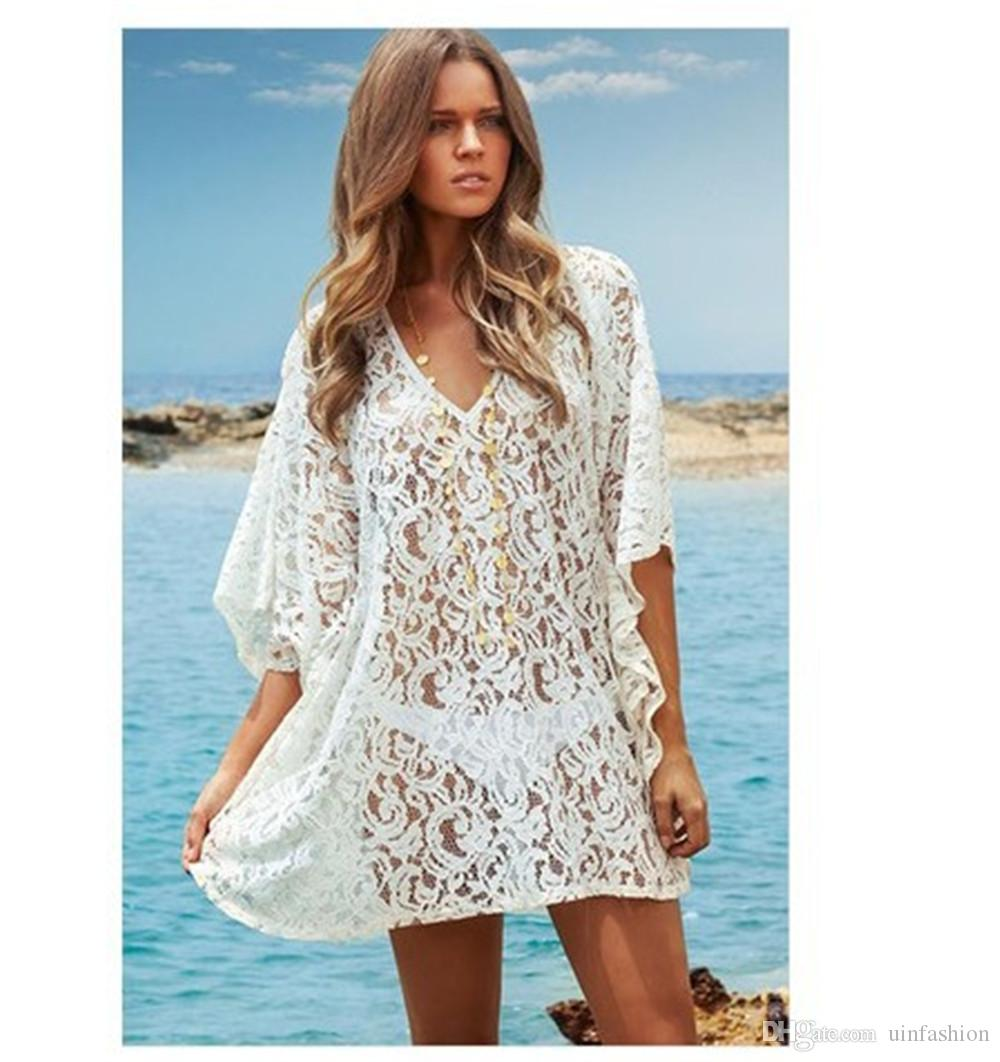 5d281178ea 2019 Solid Ladies Bikini Cover Up Lace Hollow Crochet Swimsuit Loose Beach  Dress Women Summer Cover Ups Bathing Suit Beach Wear From Uinfashion