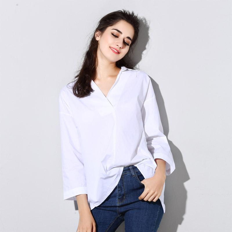 5f43fe488e2 2019 Wholesale Back Slit Blouse Women Casual V Neck Drop Shoulder Loose  Tops Pullover Female Oversized Shirt Ladies Back Split White Blouse From  Huoxiang