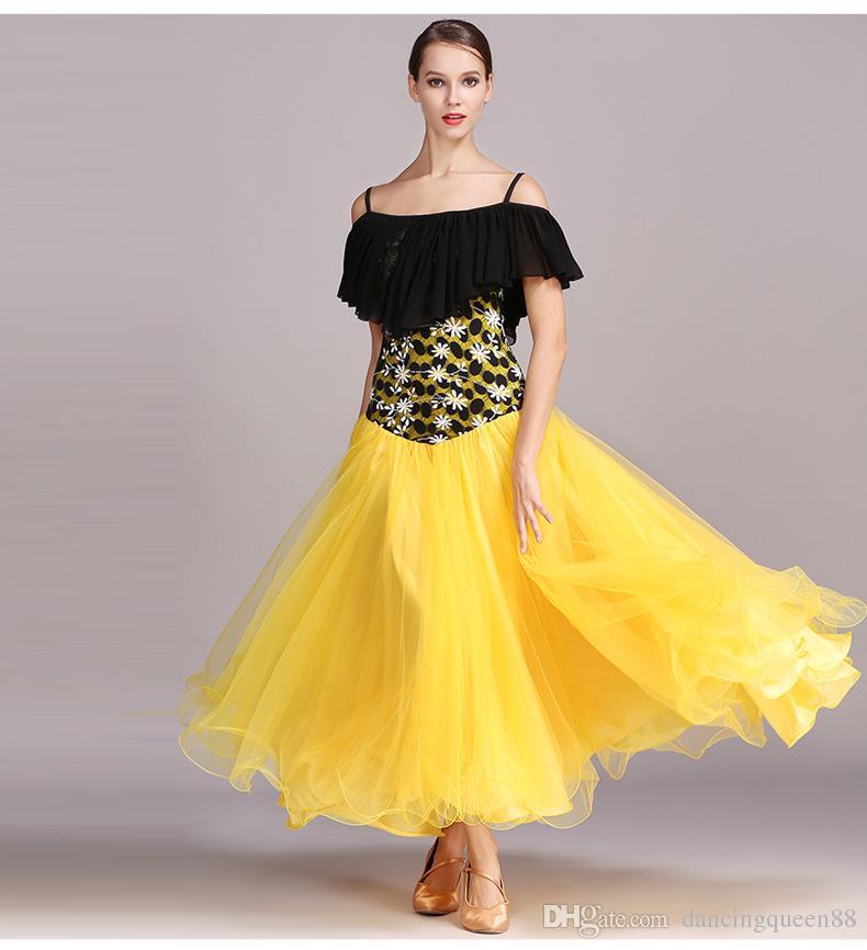 12e505451 2018 Yellow Ballroom Dress Woman Ballroom Dance Competition Dress ...