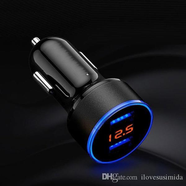 Caricabatterie auto Ricarica rapida In metallo Dual USB 4.8A Adattatore auto Display a LED Rilevatore di tensione auto da incasso iPhone X / 8/7 / 6s / Plus Galaxy S9 / S8 / S7