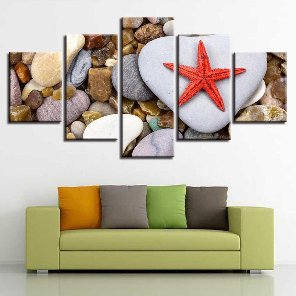 Home Decor Living Room Wall Art Painting 5 Pieces Starfish And Stone Modular Canvas HD Prints Modern Pictures Artworks Framework