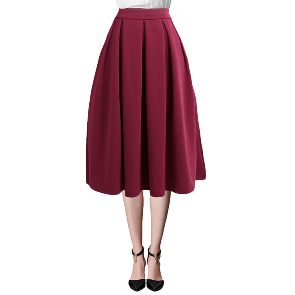 40d5f23a5 2019 Moda de Verano Falda Midi Mujer Cintura Alta Falda Plisada Cremallera  Lateral Faldas Acampanadas Con Bolsillo Negro / Rojo Saias Das Mulheres