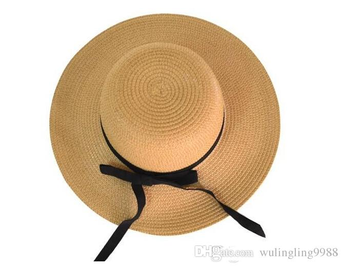 Vintage women Wide Brim Hats girls Teen lady travel beach holiday straw bowknot sun hat caps Fashion Accessories drop shipping