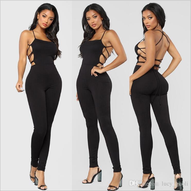 ac0217dc28 2019 Hot Sell Sexy Bandage Backless Jumpsuit Rompers Sleeveless Tights Female  Jumpsuits For Women 2018 Sexy Women Casual Playsuit Tights Bodysuit From ...