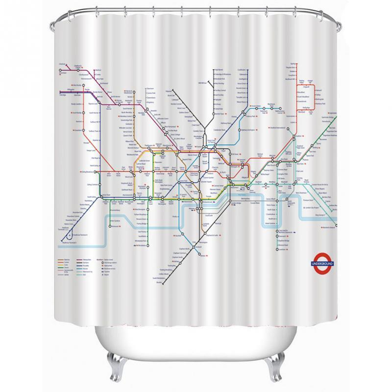 2019 Shower Curtain Subway Tube Map Pattern Bathroom Waterproof Polyester With 12 Hooks From Chenjin1451 1756