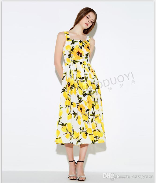 Fashionable Women Summer Dresses Girls Sweet Lemon Flora Printed Dresses  Fold Single-breasted Cultivate One s Morality Long Dress Summer Dresses  Flora ... 2e7502176f70