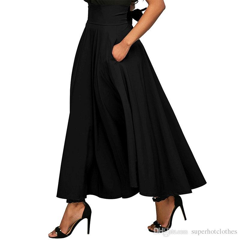 094a47ccd648 Acheter 2018 Automne Jupe Longue Avec Poche De Haute Qualité Coton Solide  Cheville Longueur Jupe Vintage Pour Les Femmes Jupe Longue Noire Taille  Plus De ...
