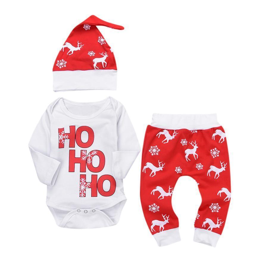 9e124d9e01e0d Acheter 0 24M Nouveau Né Bébé Garçon Garçons Filles Tenue De Noël Barboteuse  Avec Pantalon De Cerf Mes Premières Tenues De Noël Costume De Combinaison  ...