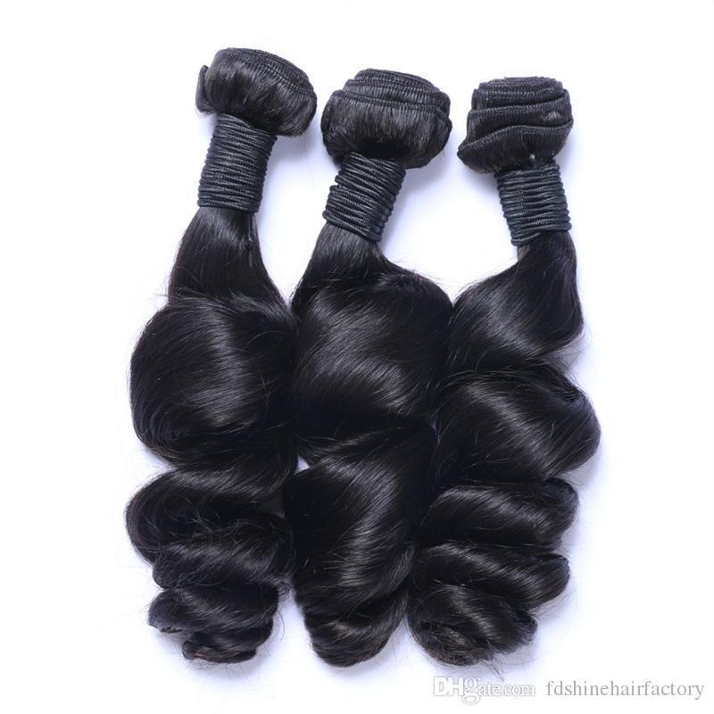 Perulu Gevşek Dalga Saç Paketler için 3 Adet İnsan Saç Örgüleri Gevşek Dalga Ipek Taban Frontal Kapatma FDSHINE