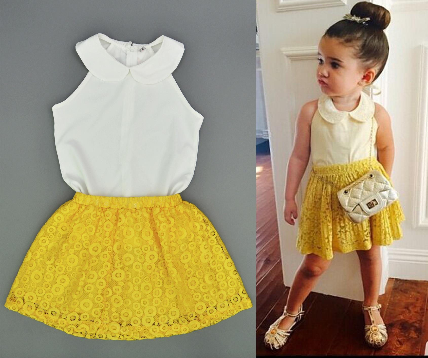 7ae8b11625d1e 2018 Summer Baby Girl Clothes Sets Sleeveless White Chiffon Shirts+Yellow  Lace Skirts 2pcs Kids Clothing Set Boutique Outfits