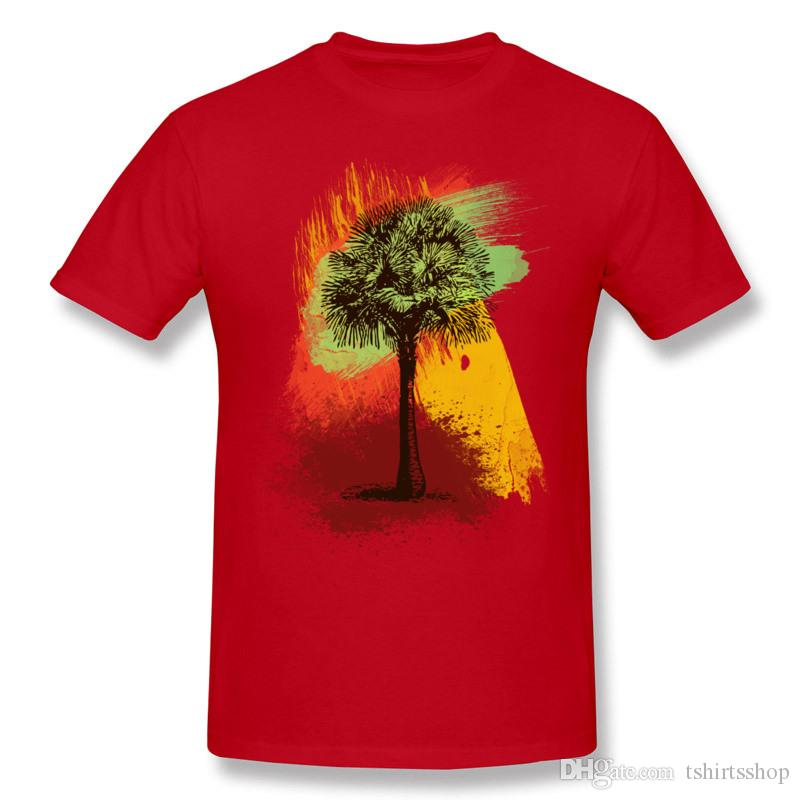 Best Choice Man Cotton Fabric Grunge Palm Tree Paint Brush Strokes Tee Shirt Man Round Neck Black Shorts Shirt For Mens S-6XL Design Tee Shi