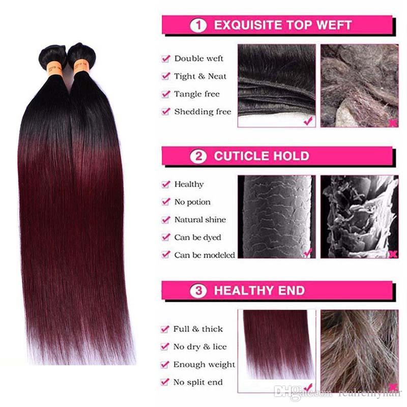 Ombre Colored Two Tone Weave 1B/99j Straight Hair Extensions Weave Bundles with Free Part Lace Closure Unprocessed Virgin Human Hair Vendors