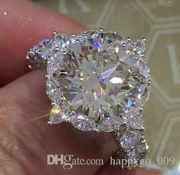 Large Diamond Ring Classic Temperament Diamond Ring Inlaid Round ...