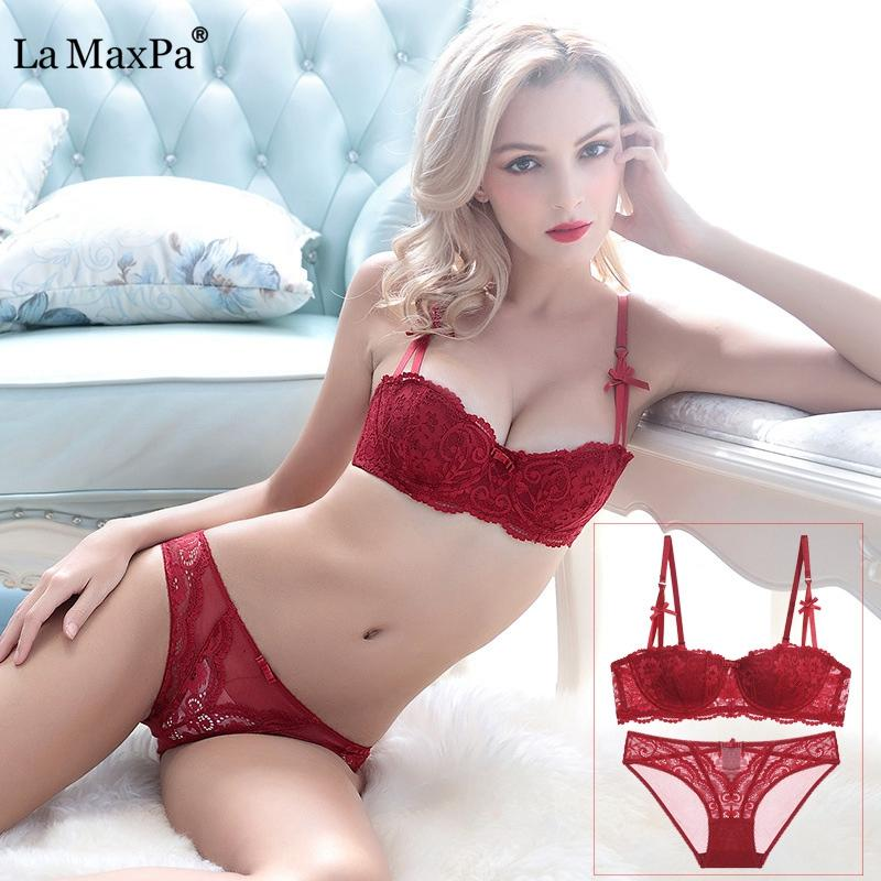 40b568cb4943 2019 Plus Size Sexy Push Up Bra Set Intimates Embroidery Half Cup Lace  Lingerie Temptation And Panty Sets Women Underwire A B C D Cup From  Clothesg090