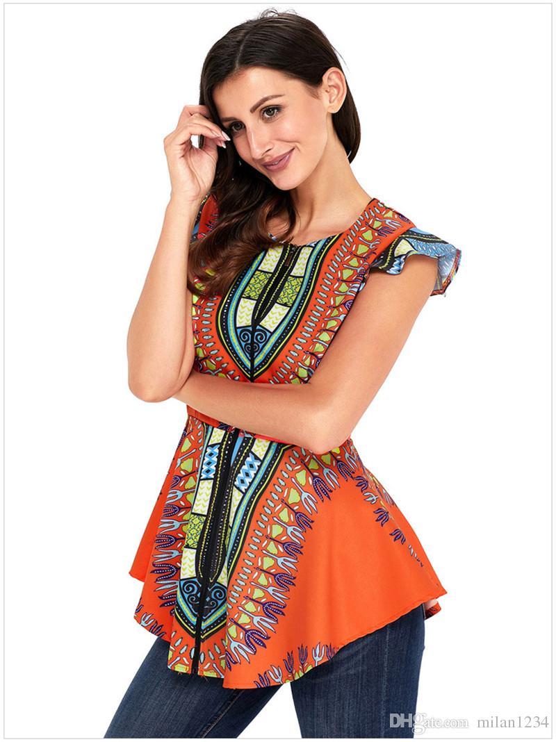 Женщины Африканский Печатный Slim Fit Асимметричный Подол Cap Рукавом Молния Закрытие Dashiki Рубашка Блузка Топ