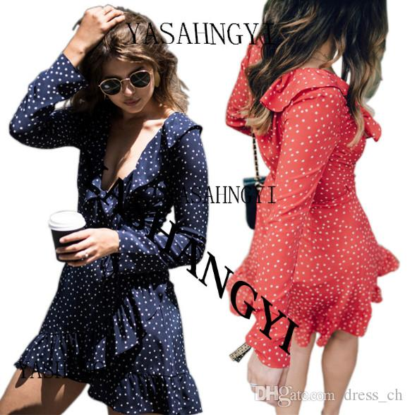 ceb071d4e7d8 Women Casual Ruffle Sexy V Neck Mini Dress Silk Long Sleeve Bow Wrap Dress  Vestidos Fashion Polka Dot Print Beach Summer Dresses Party Dresses Junior  Short ...