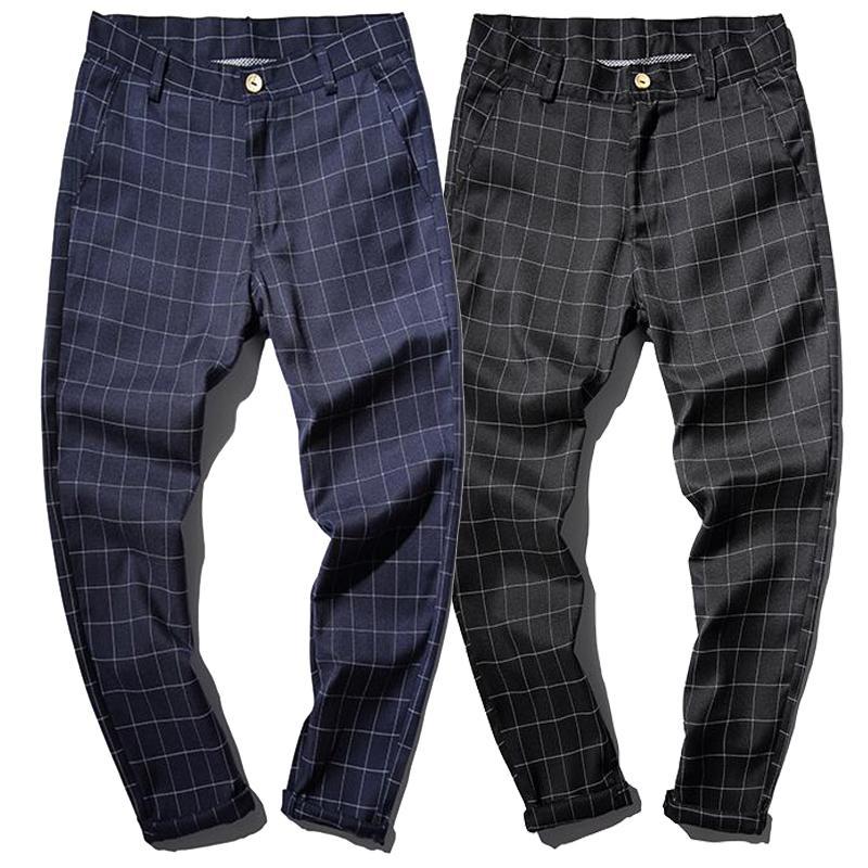 Compre 100 Algodón Primavera Negocios Casual Hombre Jogger Checked Pantalones  Pantalones A Cuadros Hombres Skinny Design Navy Negro A  44.91 Del Purlove  ... 0ecca2ee9b1