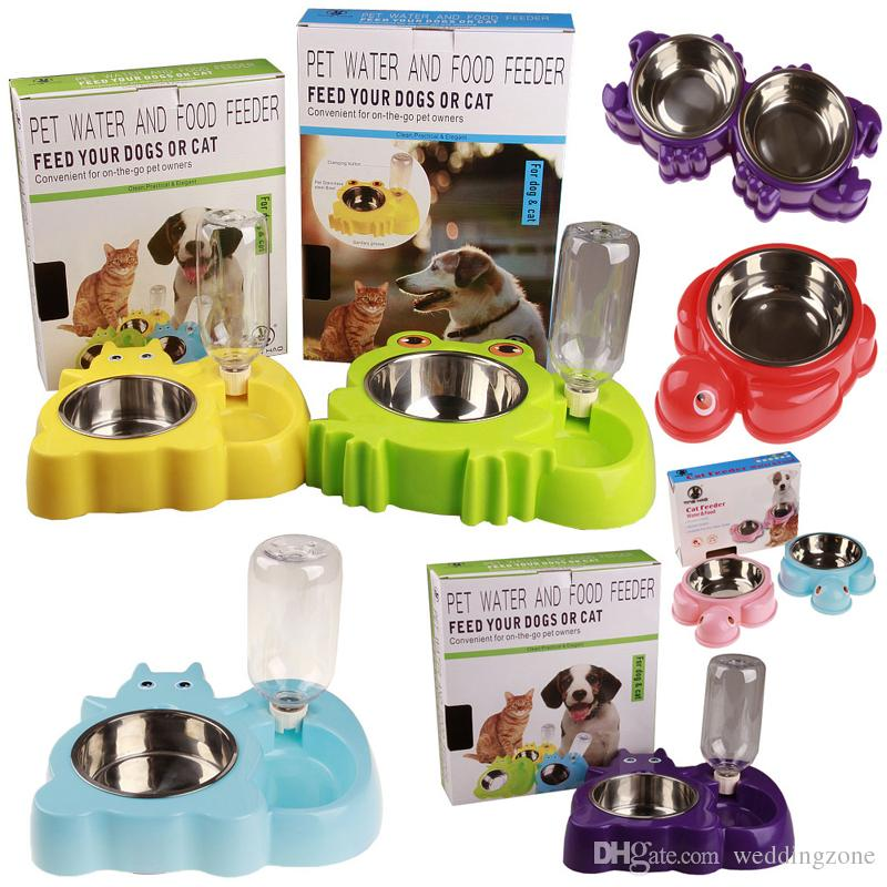 Protable Functional Stainless Steel pet water and food feeder pet automatic water bowl With Paper Retail package