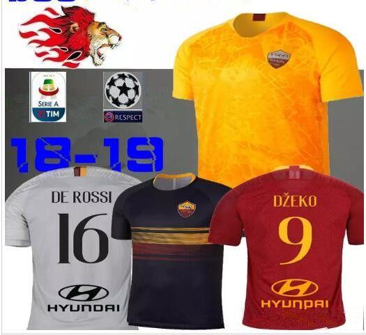 ec7303612 Compre 2018 2019 Camisa ROMA 18 19 Roma TOTTI Especial DE ROSSI DZEKO  Perotti CASA FUTEBOL JERSEYS EL SHAARAWY Camisa De Futebol AWAY Pastore  Amarelo De ...