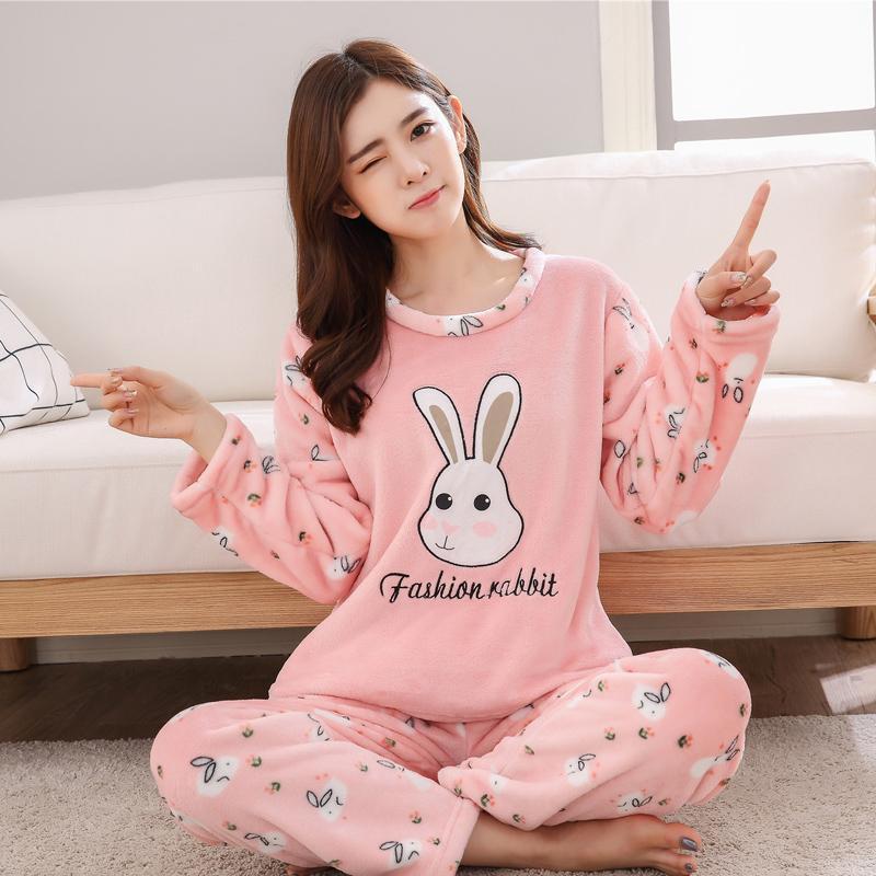 f3dab62418 2019 2018 Winter Plus Size Thick Warm Flannel Pajamas Sets For Women Coral  Velvet Pyjama Cute Cartoon Print Pijama Sleepwear Homewear From Zijinflo