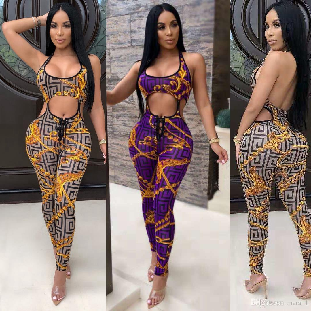 8a9c4d8e072 2019 Women Brand Designer Jumpsuits Rompers Backless Bandage Overalls  Bodysuit Print Sexy Night Club Plaid Strap Jumpsuit Bodycon Clubwear Dhl  From Mara 1