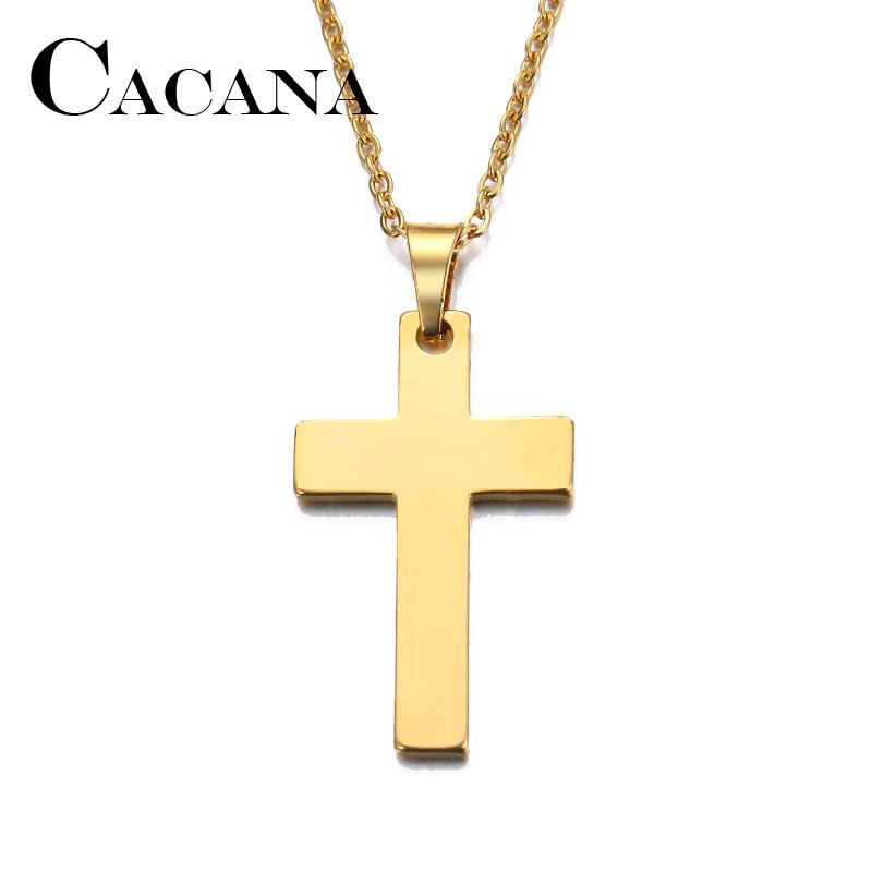 CACANA Stainless Steel Necklace For Women Man Lover's Cross Gold And Silver Color Pendant Necklace Engagement Jewelry