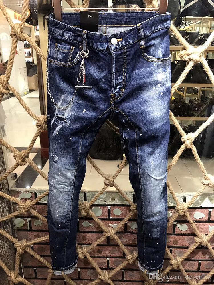 1eafc4adc 2019 Fashion Blue Ripped Jeans For Men High Quality Denim Pants Male  Trousers Designer Brand Men Jeans Skinny Fit Style New From Stevenfox,  $73.1 | DHgate.