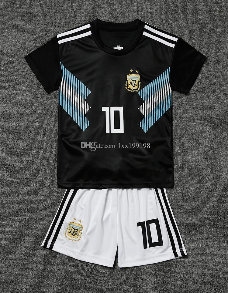 2019 Kids Rushed Limited Kit Argentina Away Soccer Jersey 2018 World Cup  Child 10 Messi Shirt 9 Aguero 11 Di Maria 21 Dybala Football Uniforms From  ... 26f5455f1