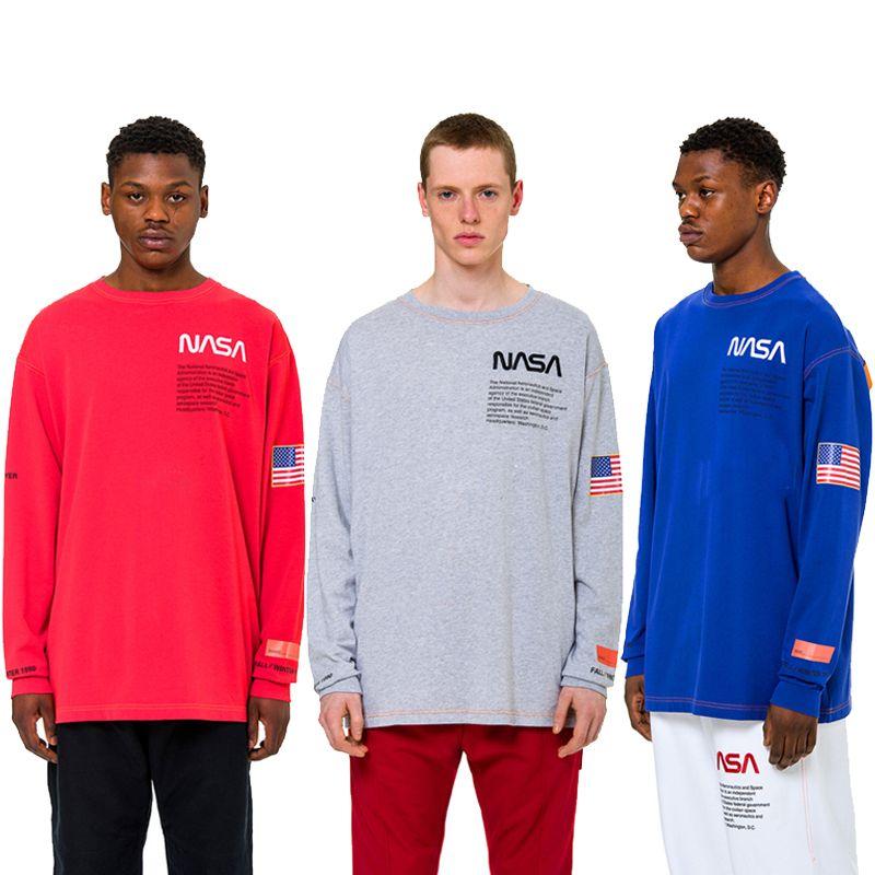 2d8ffa8dcad9c3 Heron Preston X NASA Long Sleeve T Shirt Men Women Fashion Cotton Jersey  Tee Shirt USA Flag Embroidery Street Tees YCH1001 T Shirt Shopping Online T  Shirt ...