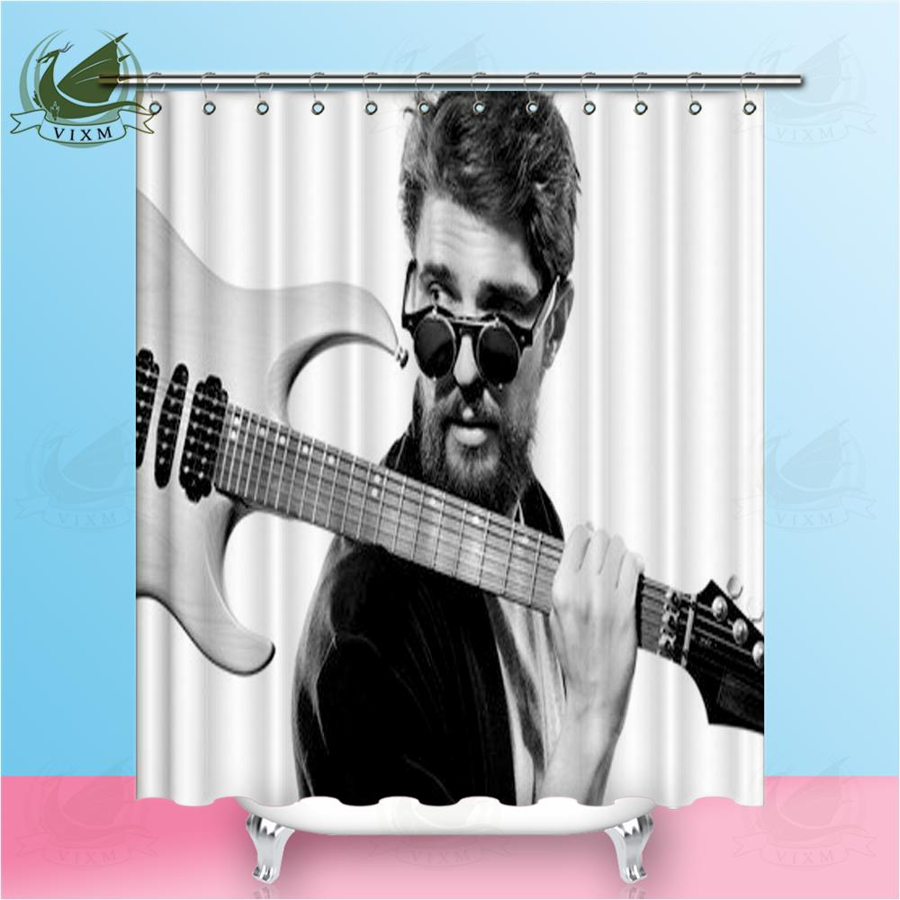 2018 Vixm Celebrity Guitarist Singer Black And White Background Shower Curtains Polyester Fabric For Home Decor From Bestory 1665