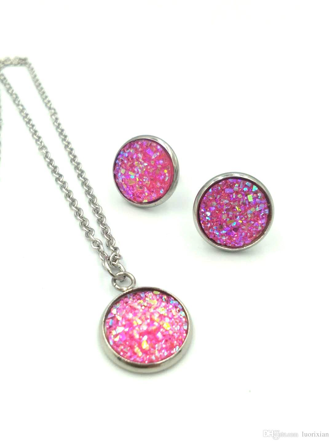 12Colors Women druzy drusy Rhinestone Pendant Statement Necklace Earrings Jewelry Set Fashion Jewelry Bridal Wedding Dress Jewelry Sets