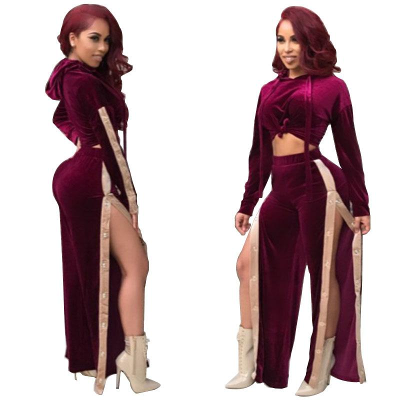561caaf34fae 2019 Casual High Split Velvet Hooded Jumpsuit Full Sleeve Crop Top And Long  Wide Leg Catsuit Sexy Women Buttons Club Rompers From Qualityclothes