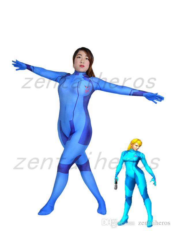 Samus Aran Zero Suit Spandex 3D Print Girl Costume Halloween Cosplay Party Zentai