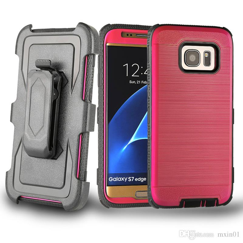 3 in 1 Brushed Heavy Duty Belt Clip Hybrid Armor Case For iPhone X 8 7 6 Samsung S7 Edge S8 S9 Plus Note Note8 ON5 G530 J2 J3 J5 J7 Prime
