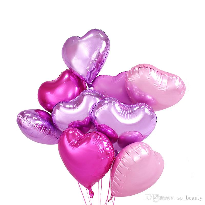 18inch Heart Foil Helium Balloon Anniversary Decor Pink Red Blue Green Purple Gold Silver Choose Color
