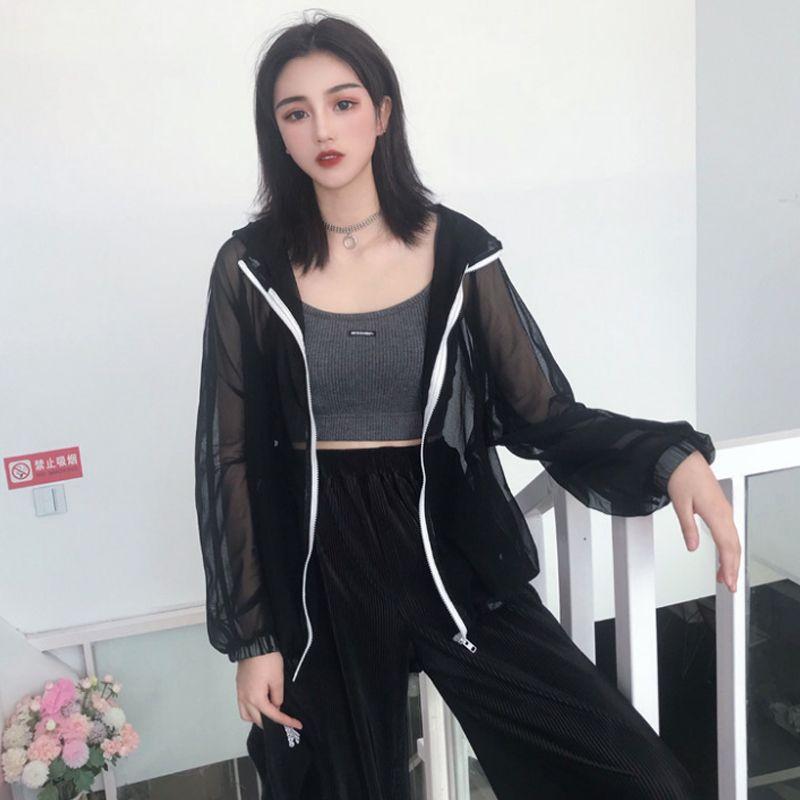 7d5d9d7e5439 Women S Clothing Harajuku Korea Ulzzang Loose Coats Two Side Stripe Thin  Mash Jackets BF Hooded Long Sleeve New Hipster Jackets Coat Jacket Fur  Leather ...