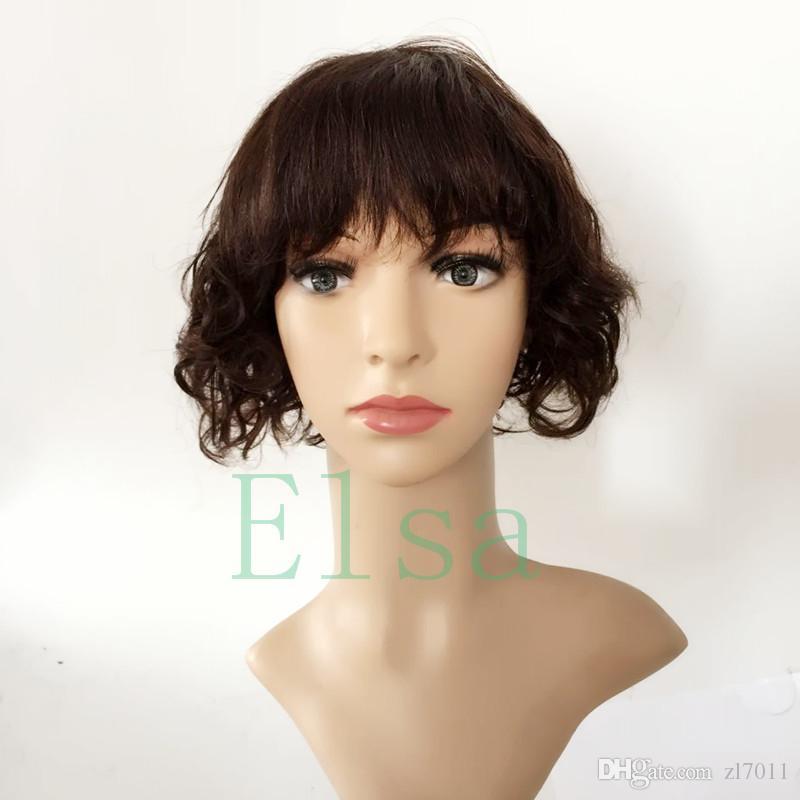Brazilian virgin hair lace front wigs Natural wave with bangs short bob wavy human hair full lace human hair wigs for black women
