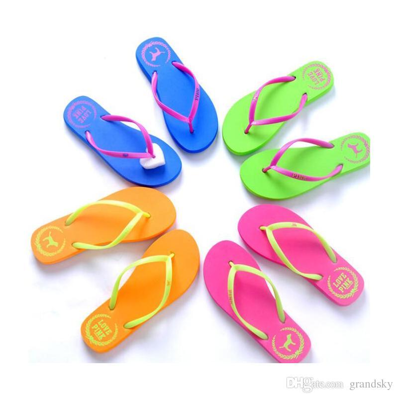 Girls Pink Flip Flops Love Pink Sandals Pink Letter Beach Slippers Shoes Summer Soft Beach Slipper /pair