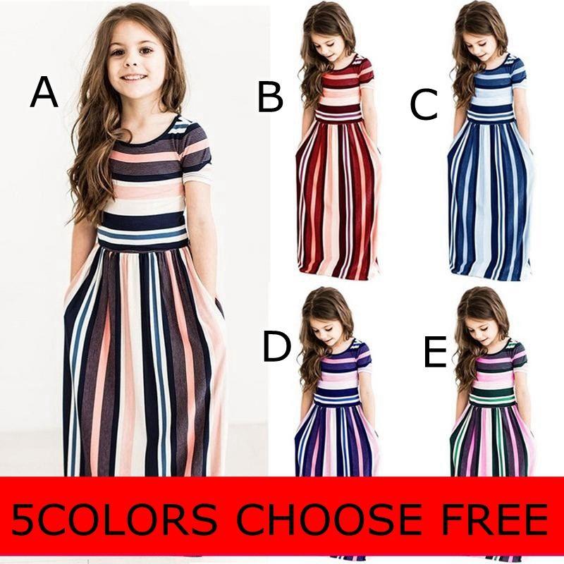 7c93e8f153d 2019 INS SUMMER Girls Colorful Striped Dress Printed O Neck Short Sleeve  Long Dress Ankle Length Longuette Skirt Breathable DRESSES From Melee