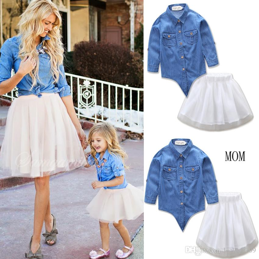 2017 Family Matching Clothes Mommy And Daughter Dress Mom & Me Denim Blouse+White Tutu Skirts Sets