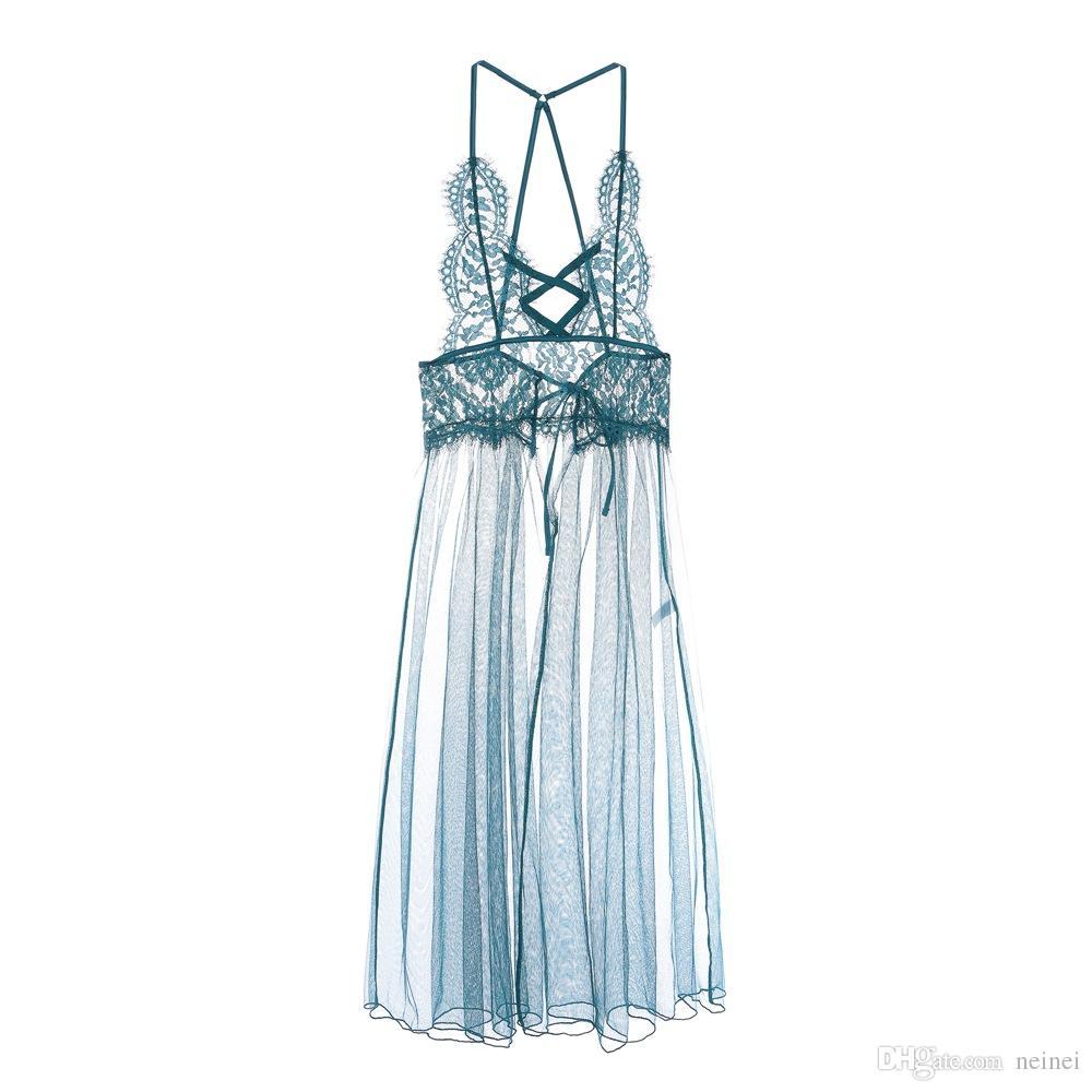 2019 2018 New Full Lace Sleepwear Deep V Neck Transparent Sexy Women  Nightwear Grenadine Nightgown Lingerie Beauty Back Pack From Neinei 7e09a63bb