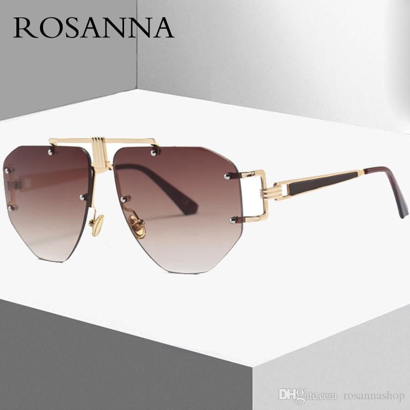 d202147863 ROSANNA 2018 Oversized Women Men Square Rimless Sunglasses Brand Design  Vintage Irregular Eyewear Metal Frame Sun Glasses Female UV400 Polarized  Sunglasses ...