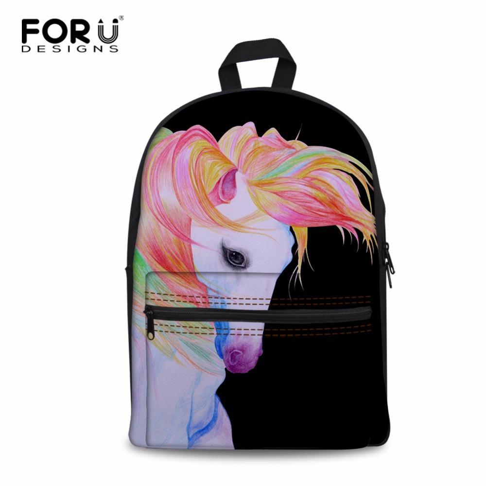 FORUDESIGNS Unicorn Backpack For Teenage Girls Children School Bags Kids  Bookbag Horse Print Casual Canvas Bag With Mesh Poscket Bags For Girls Girls  ... 67b80e9272ae0