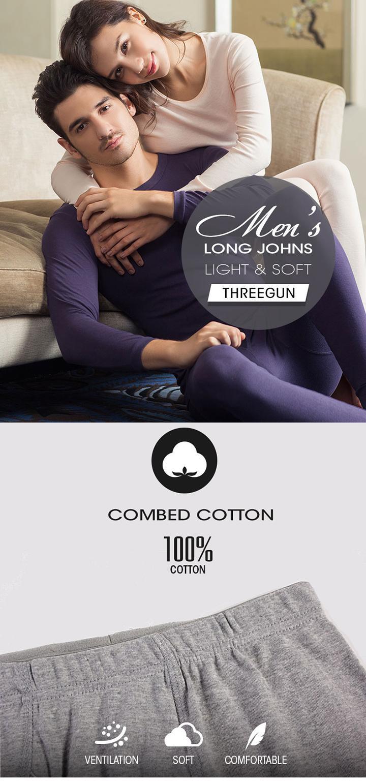 THREEGUN 100% Cotton Winter Round Neck Warm Long Johns Set For Men Ultra-Soft Solid Color Thin Thermal Underwear Men's Pajamas