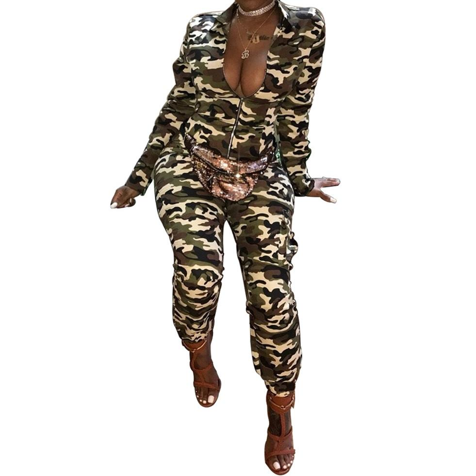 ffd1a3985565 2019 Camouflage Printed Jumpsuits For Women 2018 Zipper Collar Long Sleeve  Overalls Vintage Camo Fashion Streetwear Ladies Rompers From Trousseau