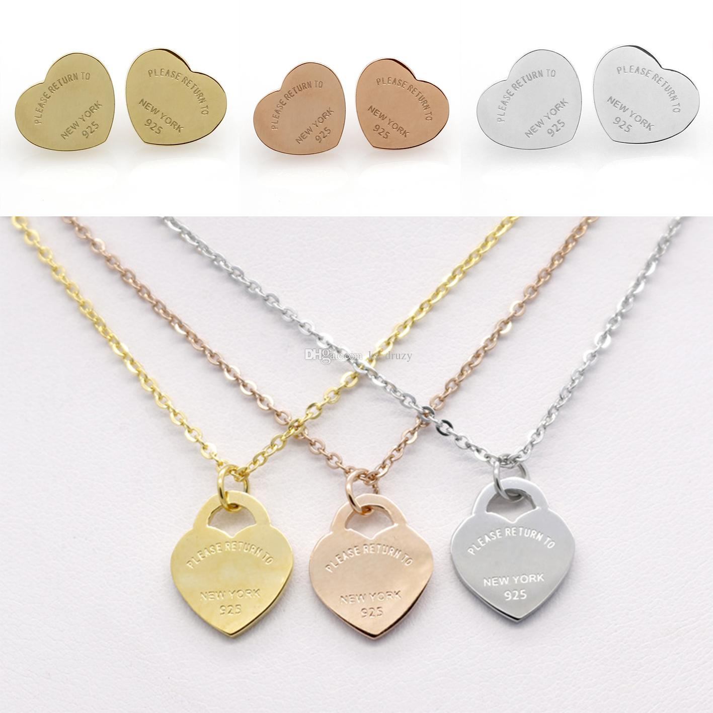HQ Simple T Brand Stainless Steel Earrings Necklace Jewelry Set Love Heart English Letters Necklace For Women Lady with Logo