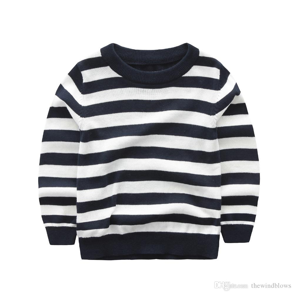 2018 High Quality Baby Boy Sweater Knitted Cardigan Striped Pullover 100%  Cotton O Neck Children Clothes Spring Autumn Outwear Navy Blue Cardigan For  Baby ... 4215e8275
